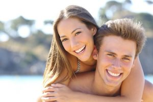 couple with perfect smile and white teeth