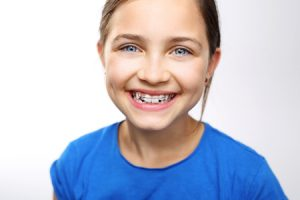 teenage girl with dental braces